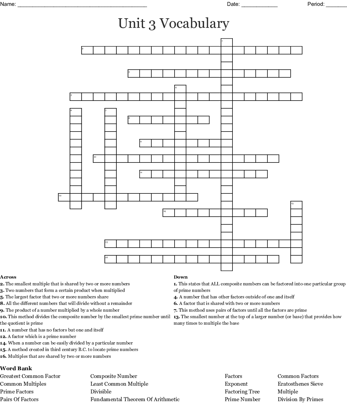Factors Multiples Prime And Composite Numbers Word