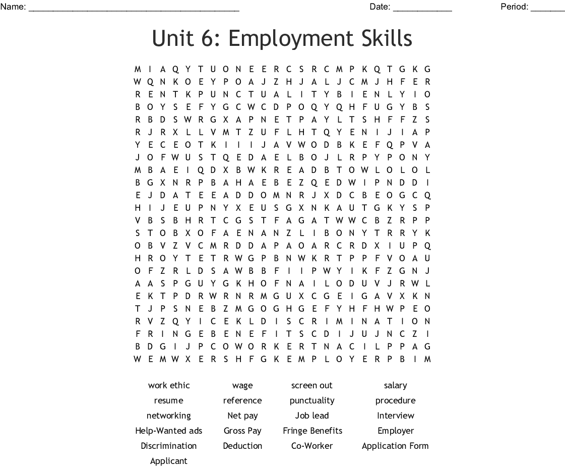 Job Skills Class Topics Word Search