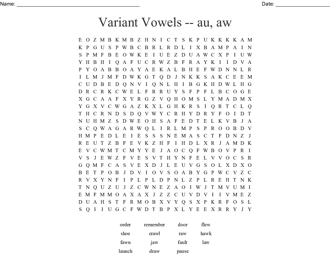 Variant Vowels Au Aw Word Search