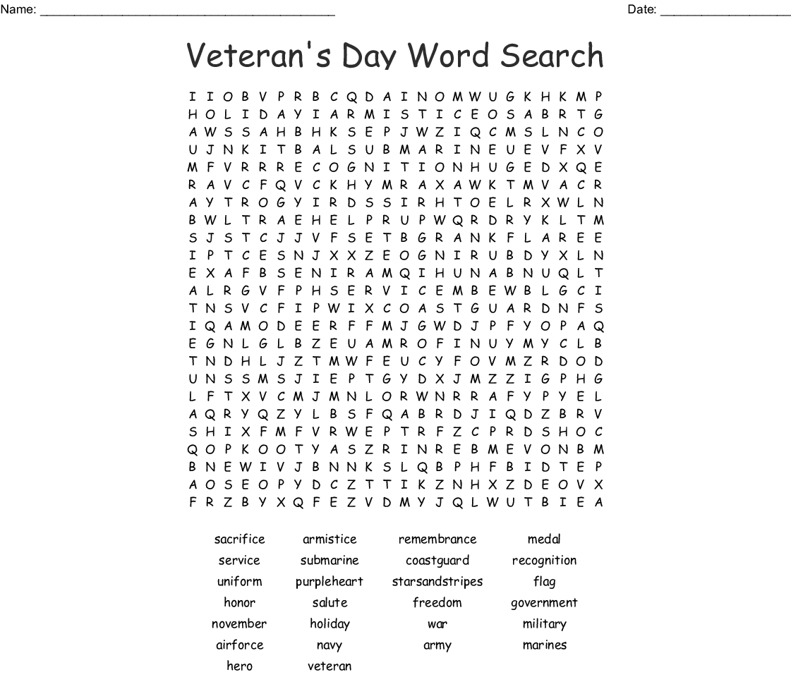 Veteran S Day Word Search