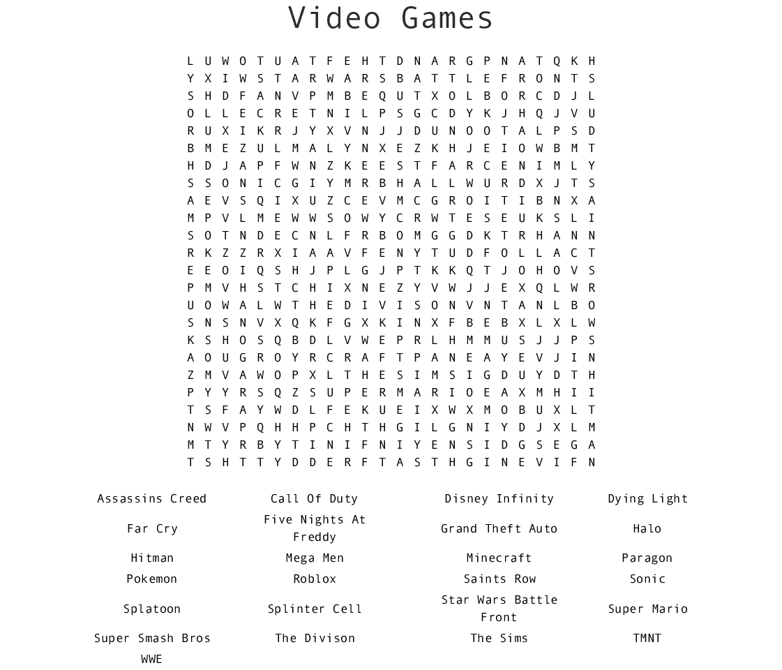 Video Games Word Search