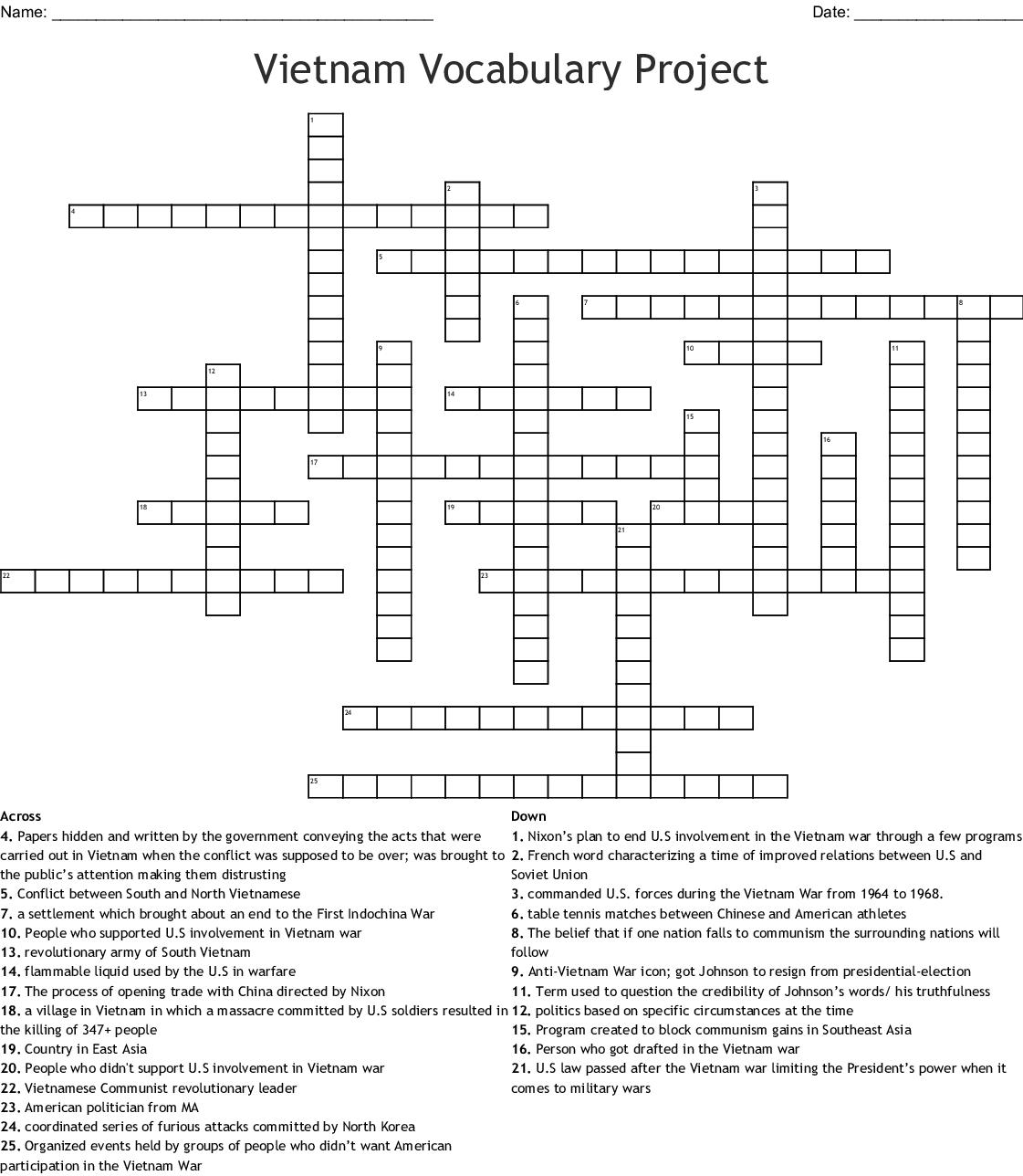 Vietnam War Crossword Puzzle