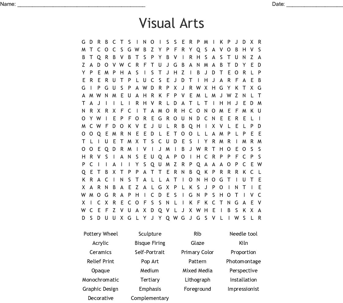 Visual Arts Word Search