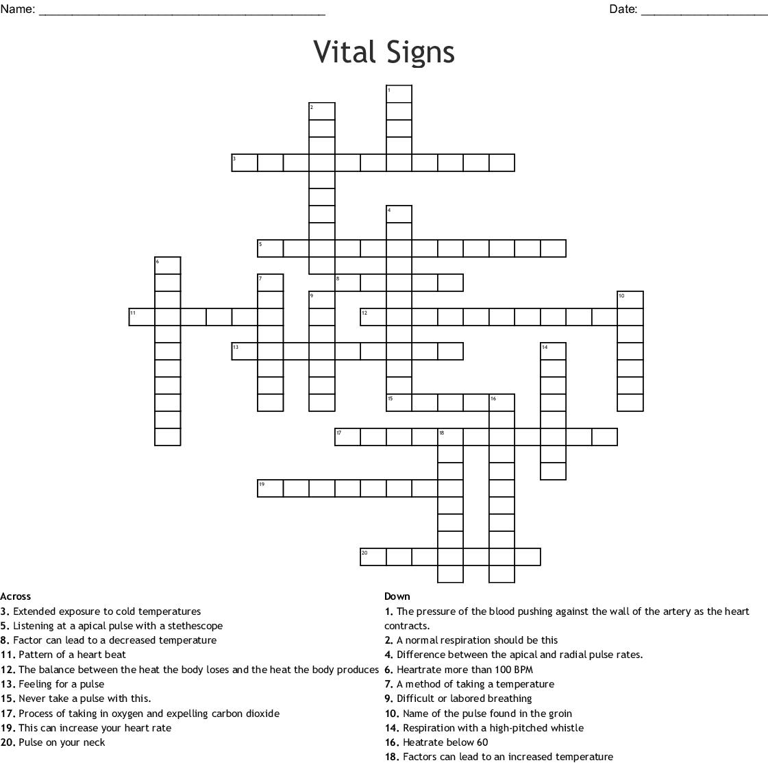 Vital Signs Crossword
