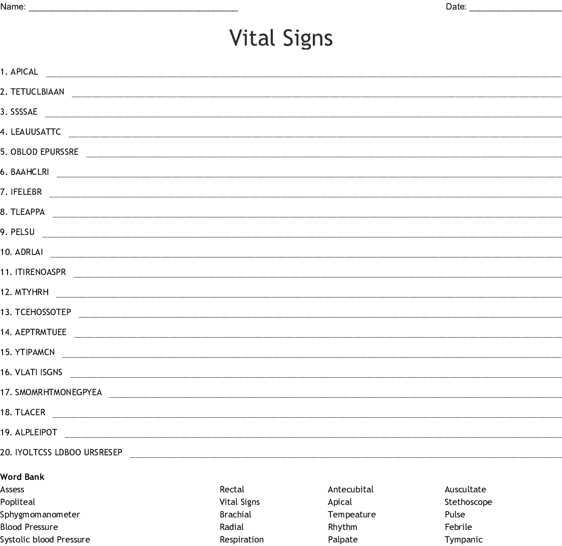Vital Signs Word Search