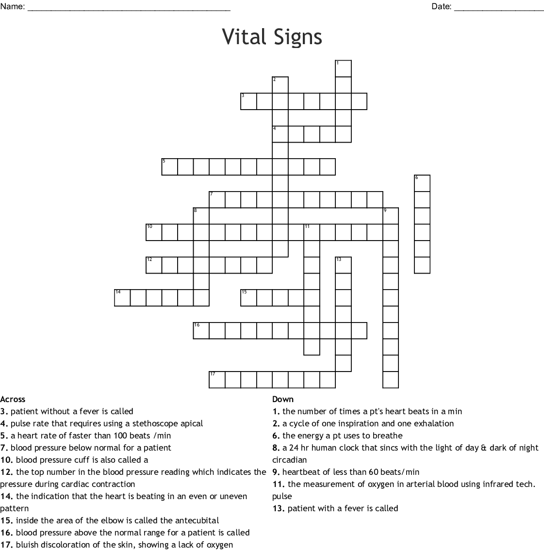 Vital Signs Crossword