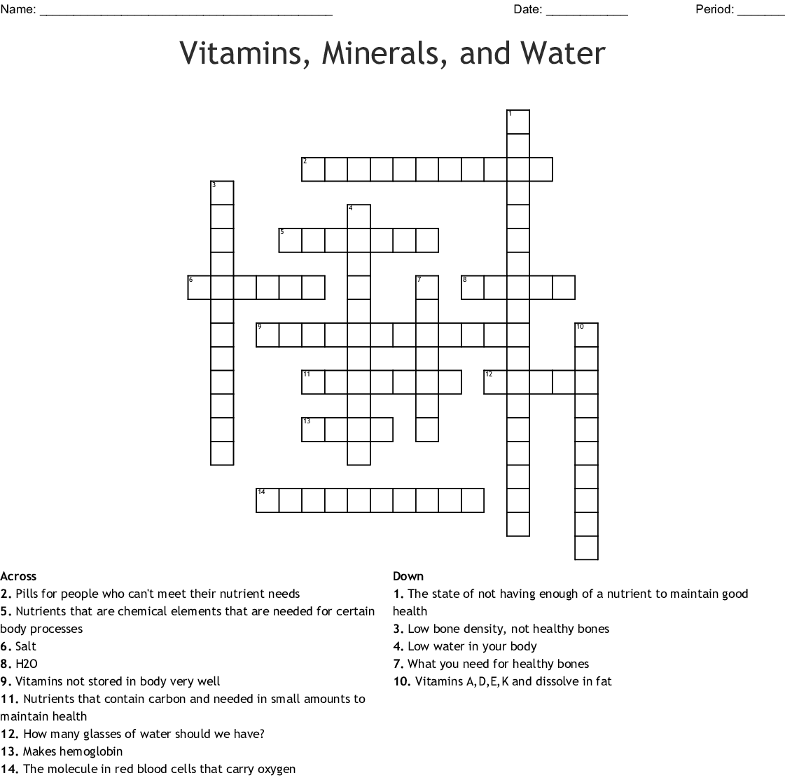 Vitamins Amp Supplements Crosswords Word Searches Bingo