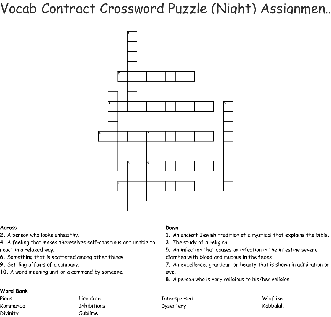 Vocab Contract Crossword Puzzle Night Assignment 3 Activity 14 Crossword