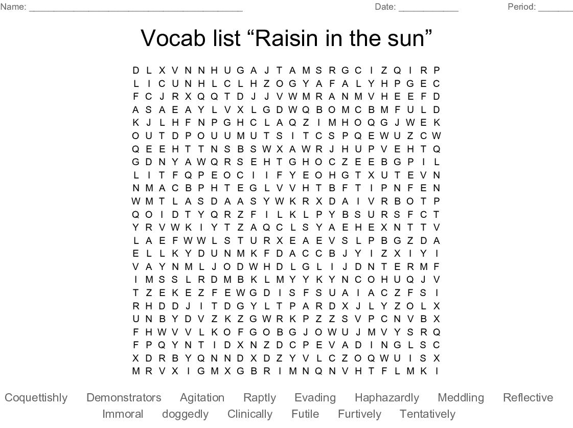 Vocab List Raisin In The Sun Word Search