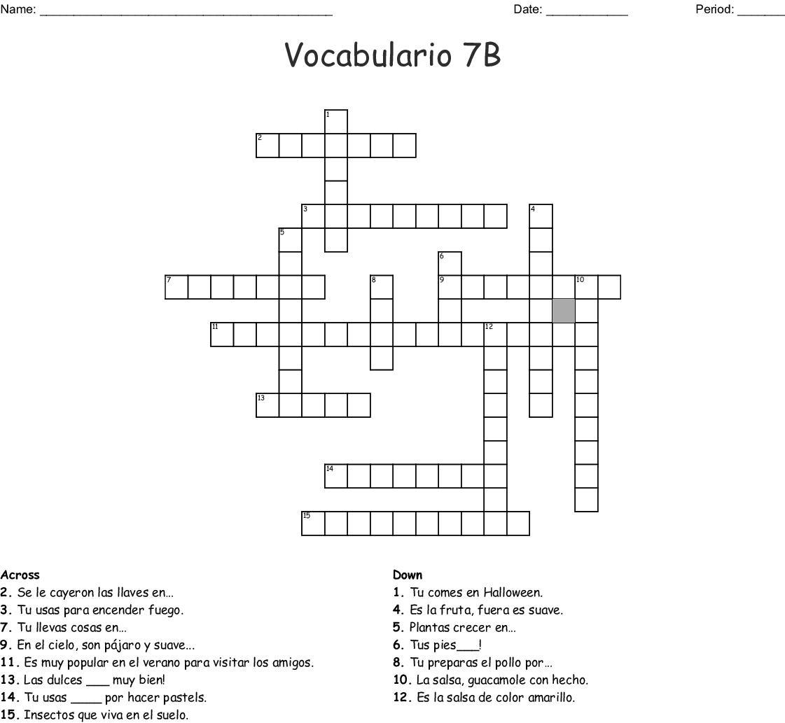 Similar To Spanish 7b Vocab Crossword
