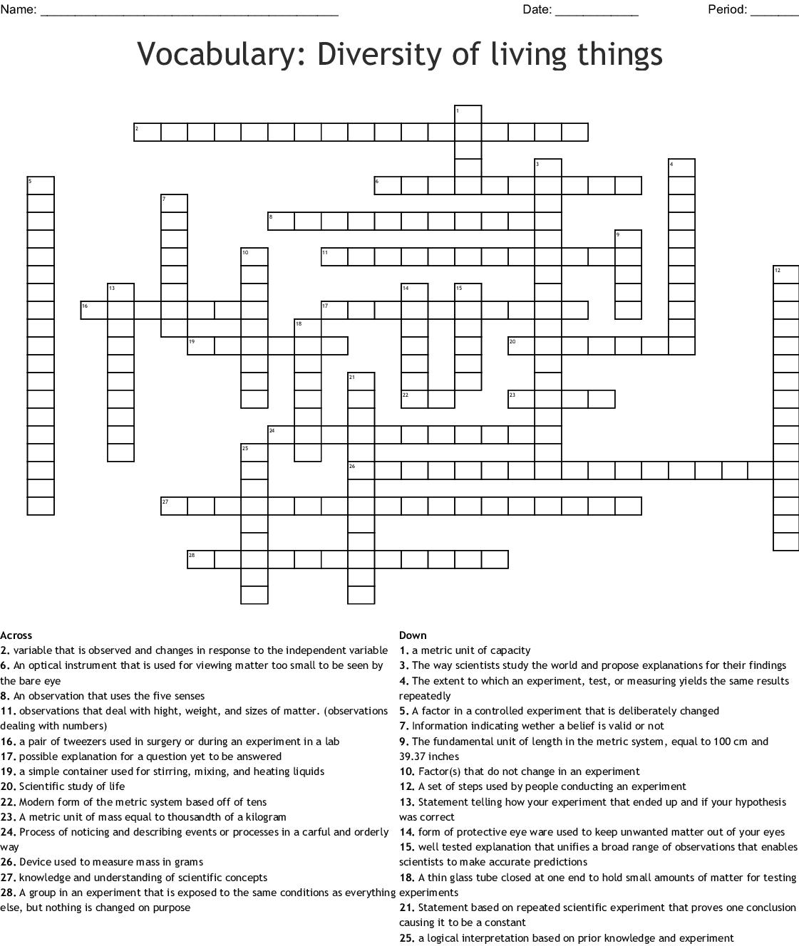 Vocabulary Diversity Of Living Things Crossword