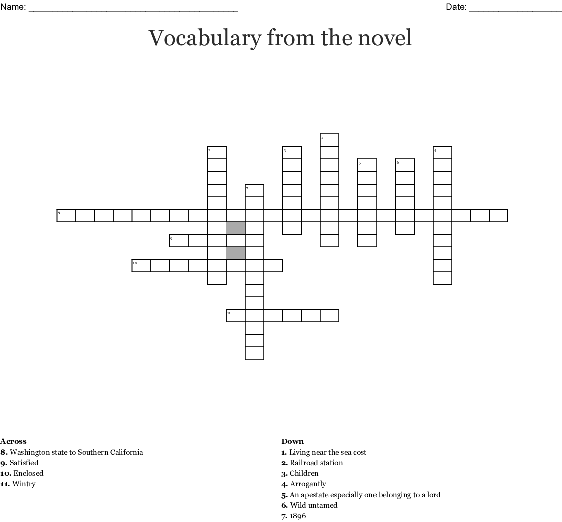 Call Of The Wild Chapter 1 Crossword