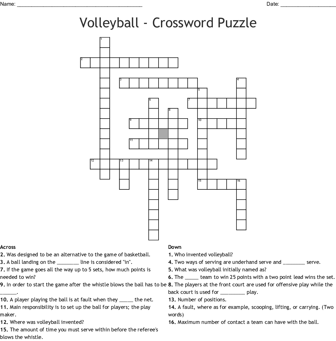 Worksheet Volleyball Crossword Puzzle Answers