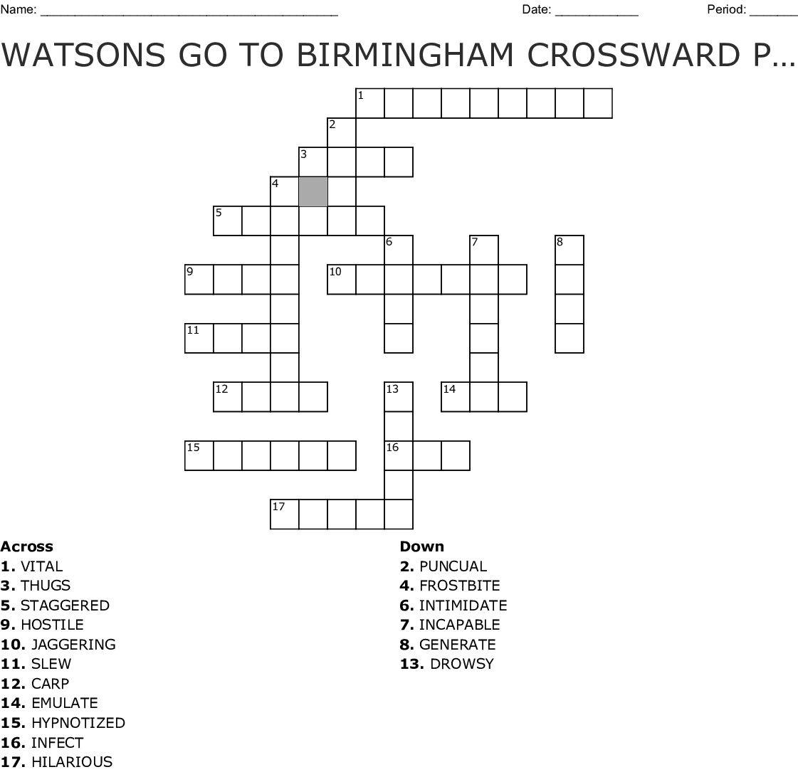 Watsons Go To Birmingham Crossward Puzzle Crossword