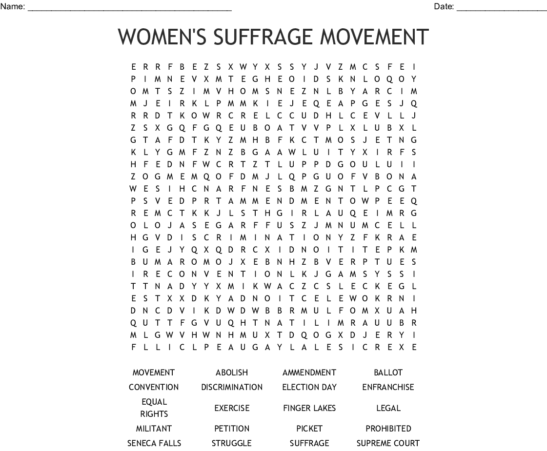 Women S Suffrage Movement Word Search