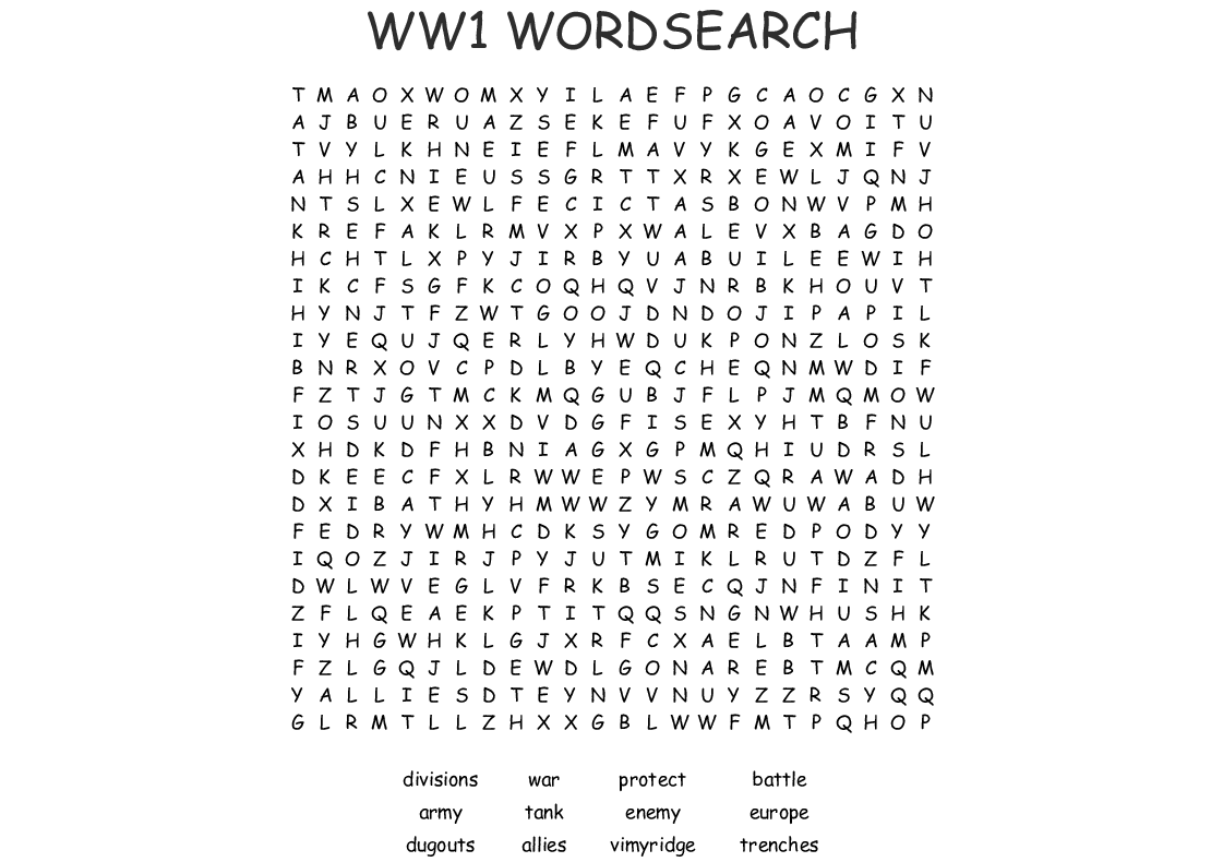 Ww1 Wordsearch