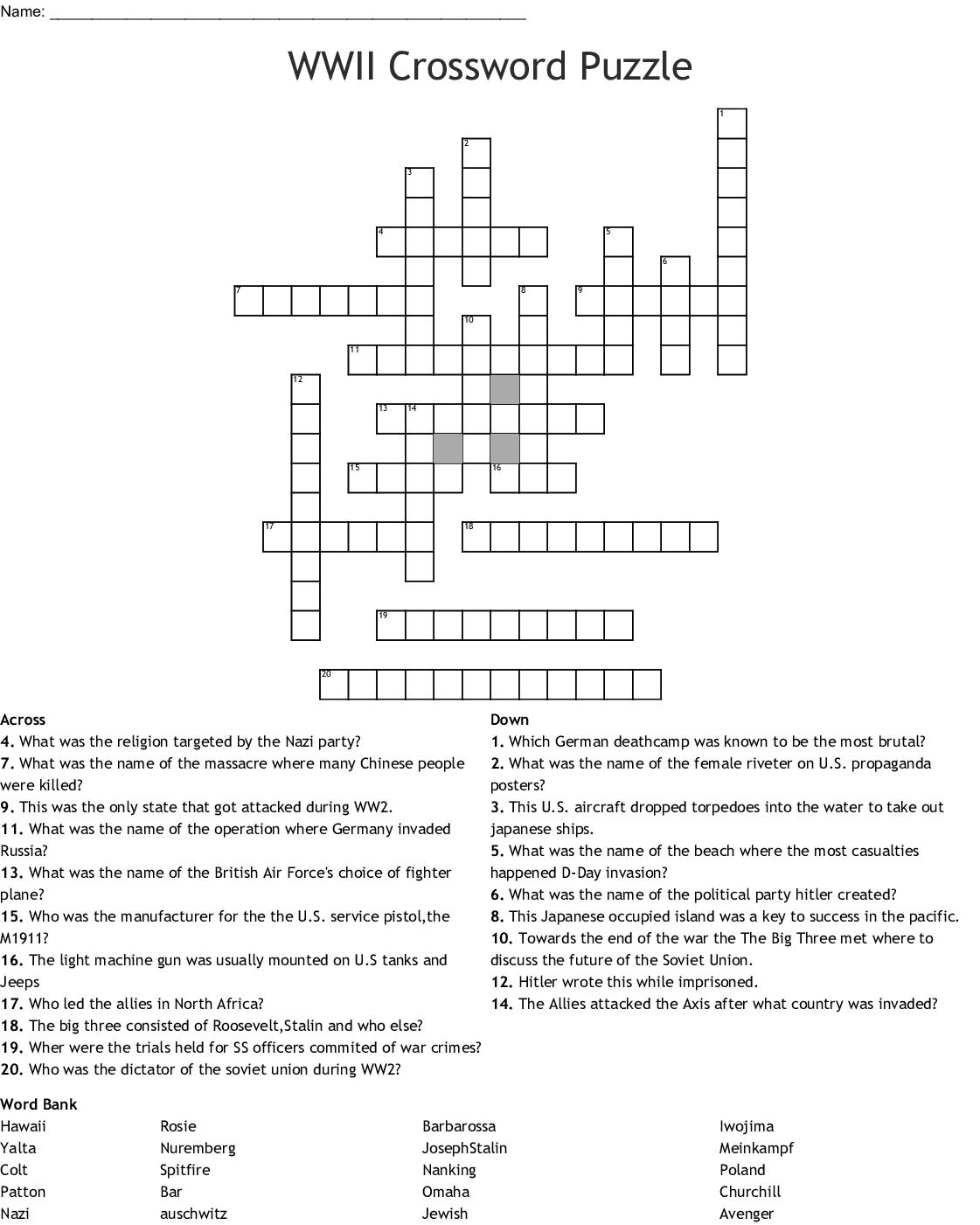 Wwii Crossword Puzzle Crossword