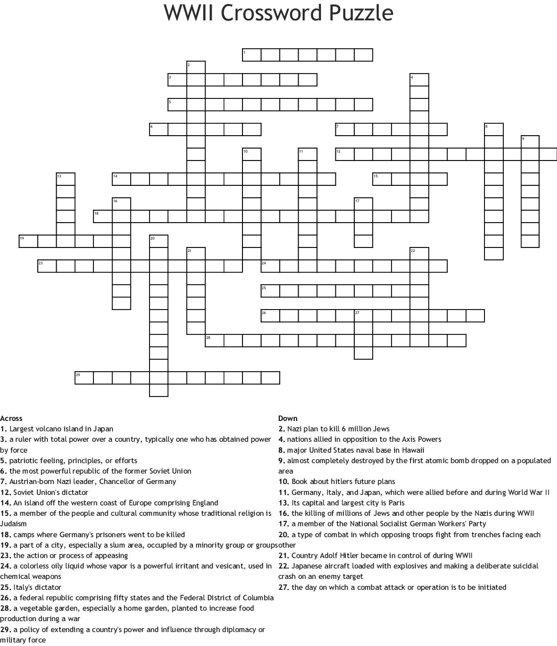 Ww2 Crossword Puzzle