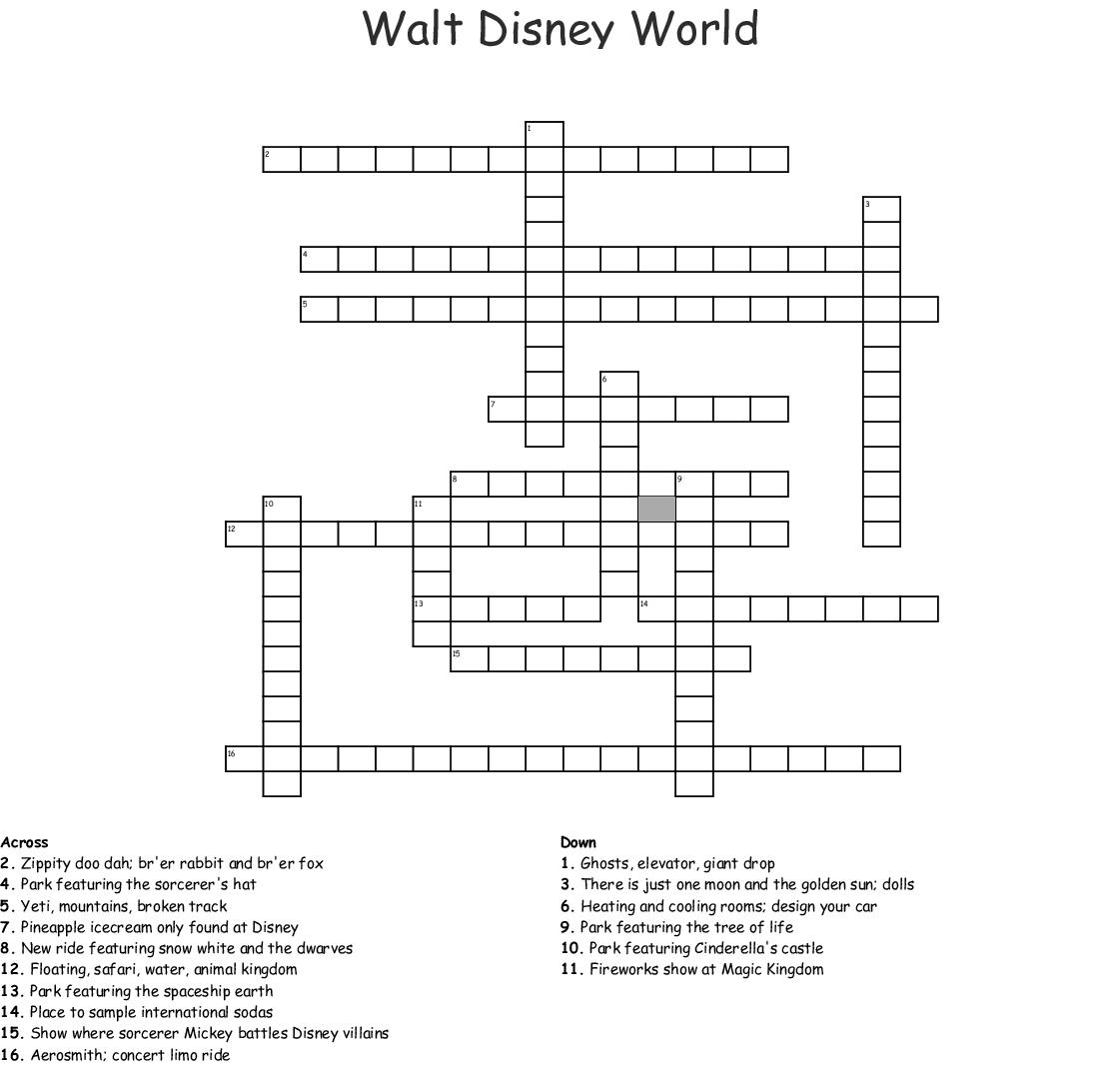 Similar To Walt Disney World Word Search