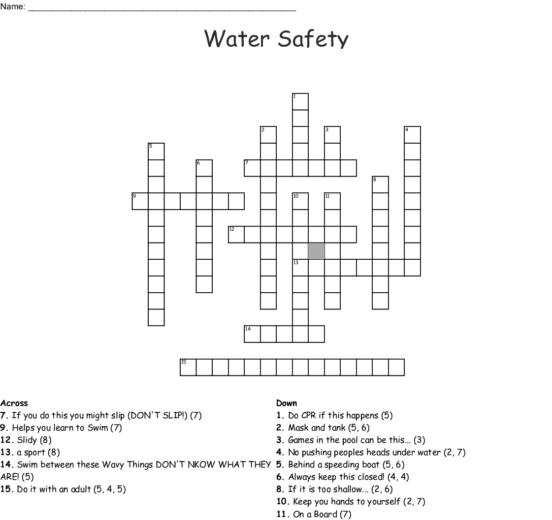 Water Safety Wordsearch