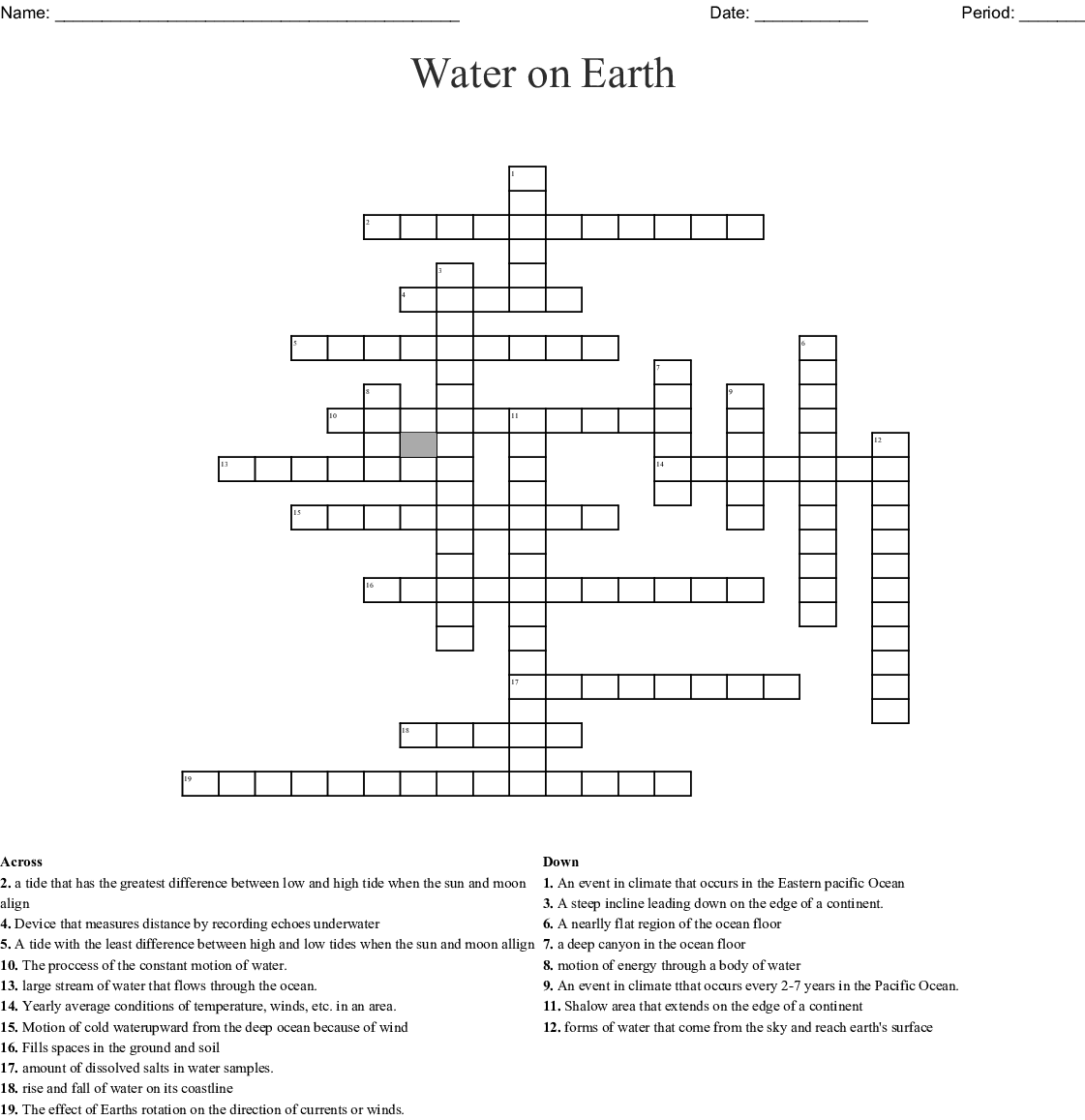 Water On Earth Word Search