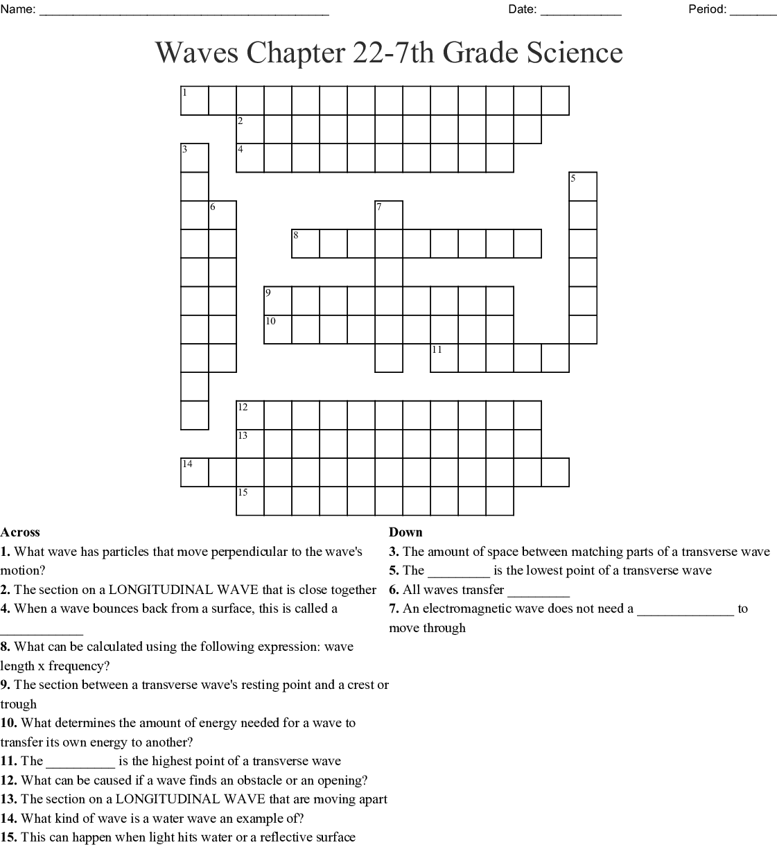 Waves Chapter 22 7th Grade Science Crossword