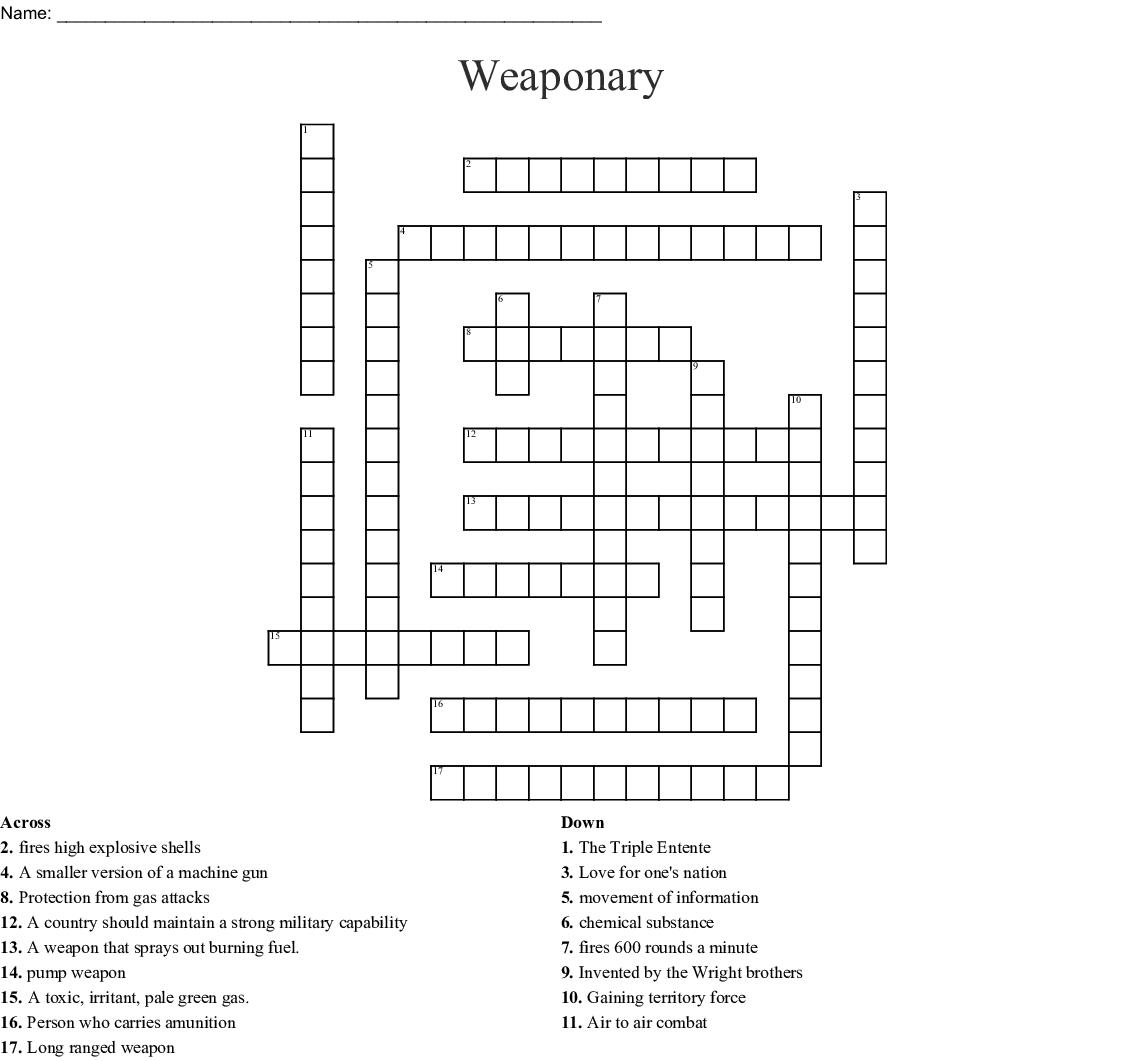 Weaponary Crossword