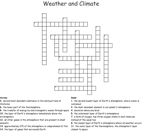 Atmosphere and Global Climate Word Search - WordMint