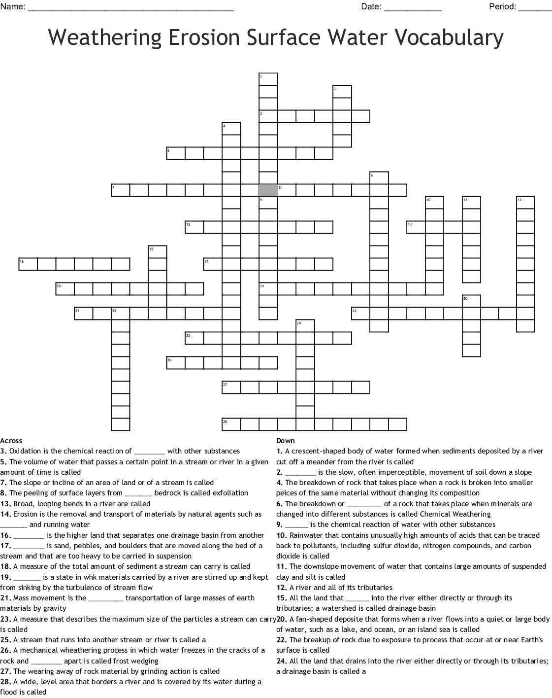 Weathering Crossword Puzzle