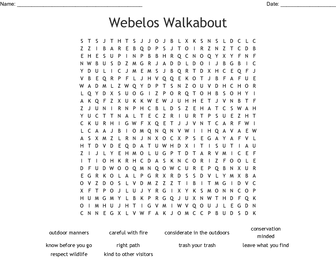 Outdoor Code Amp Leave No Trace Pledge Word Search