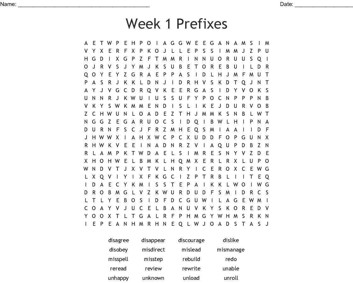 Prefixes Un Dis Mis Re Amp Pre Word Search