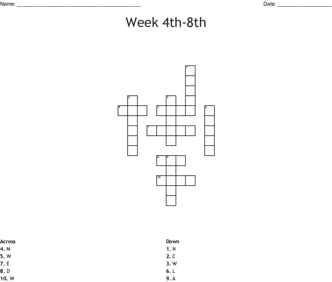 Week 4th 8th Crossword