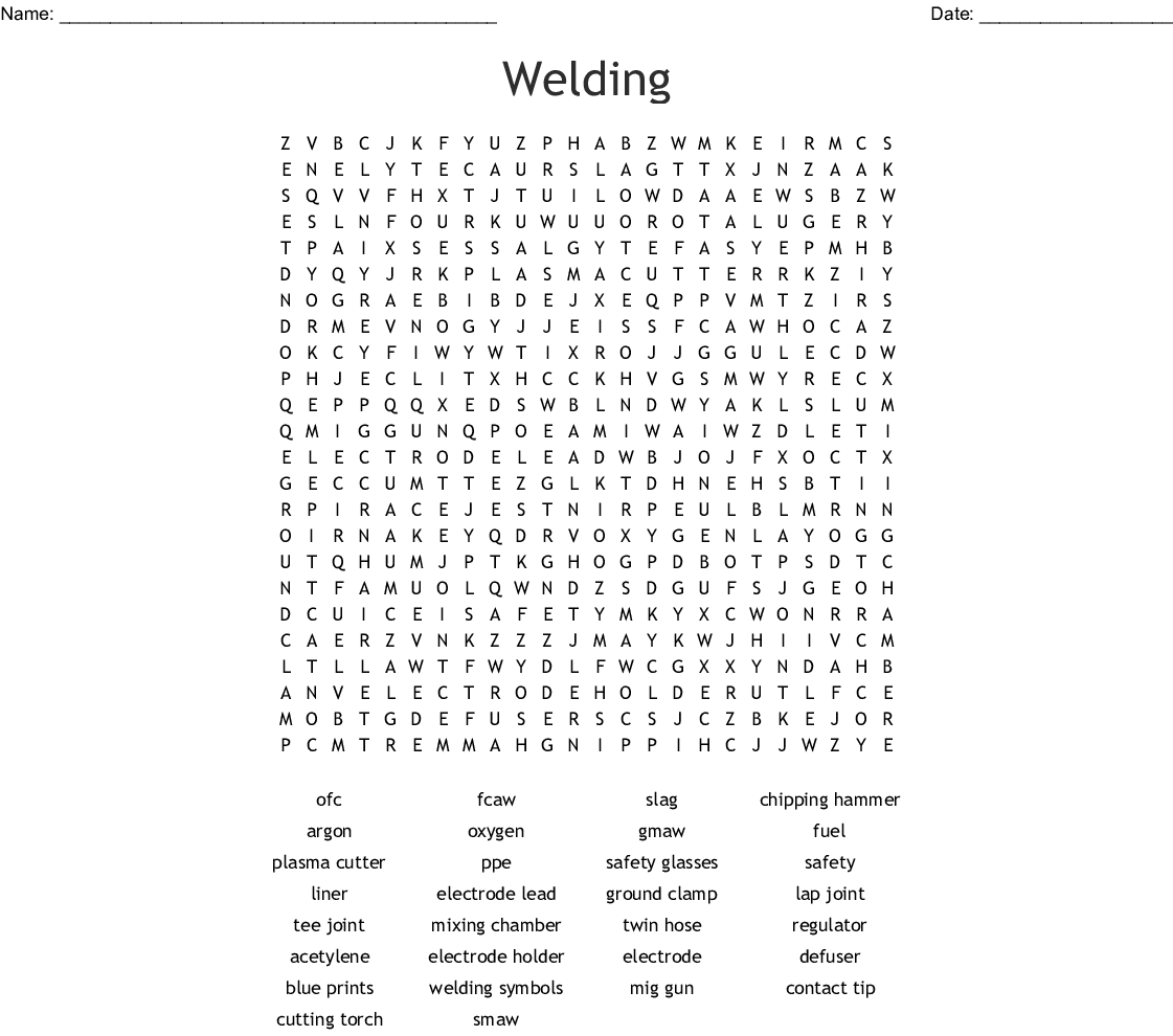 Welding Word Search