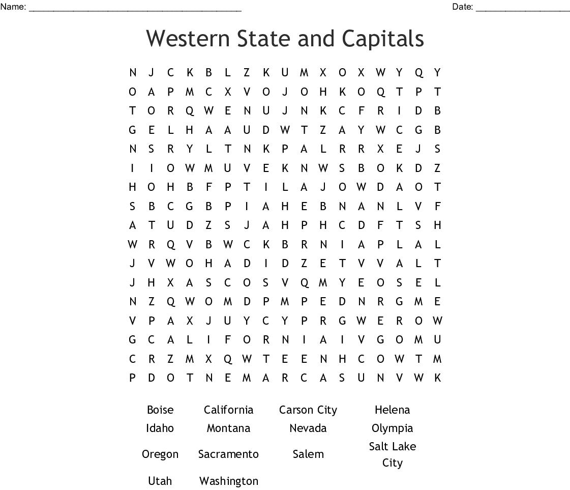 50 States Crossward Puzzle Crossword