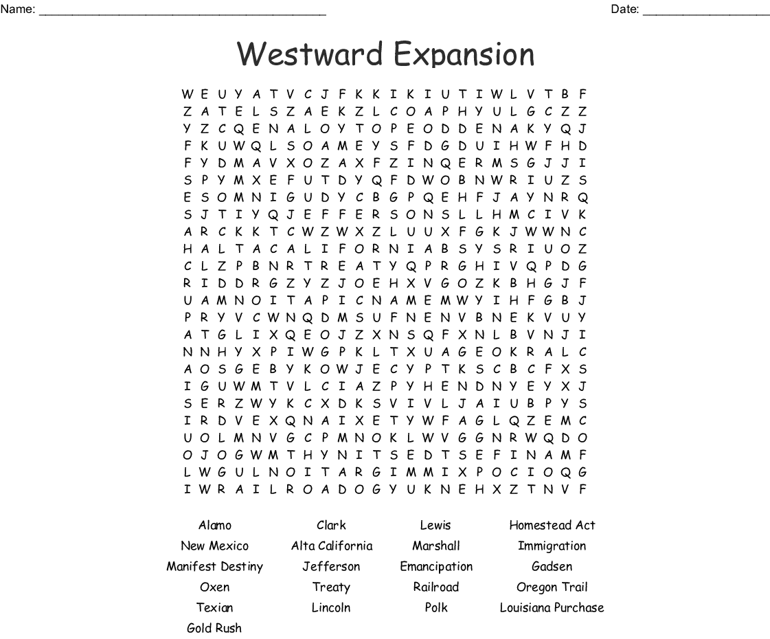 Westward Expansion Word Search