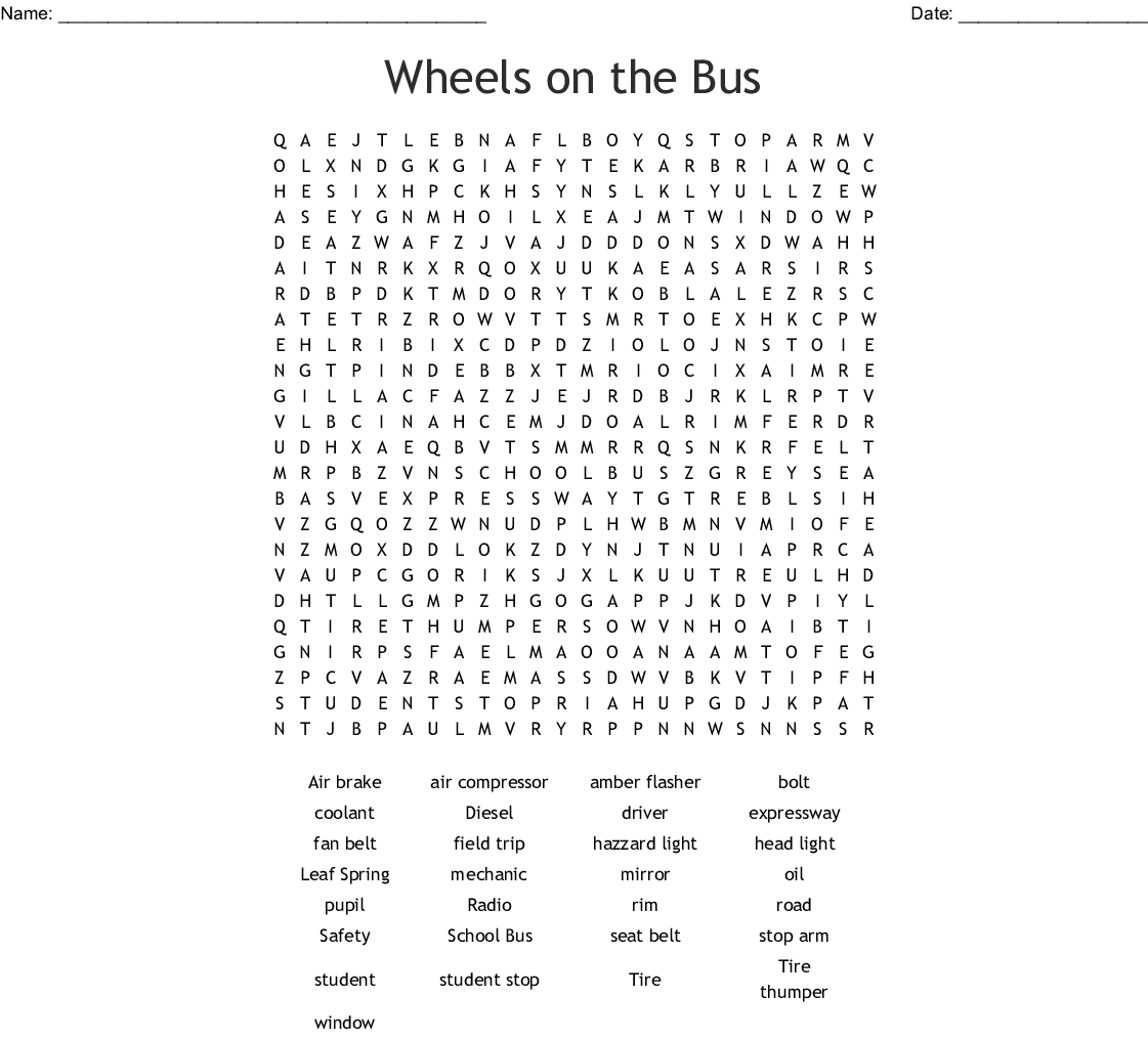 Wheels On The Bus Word Search