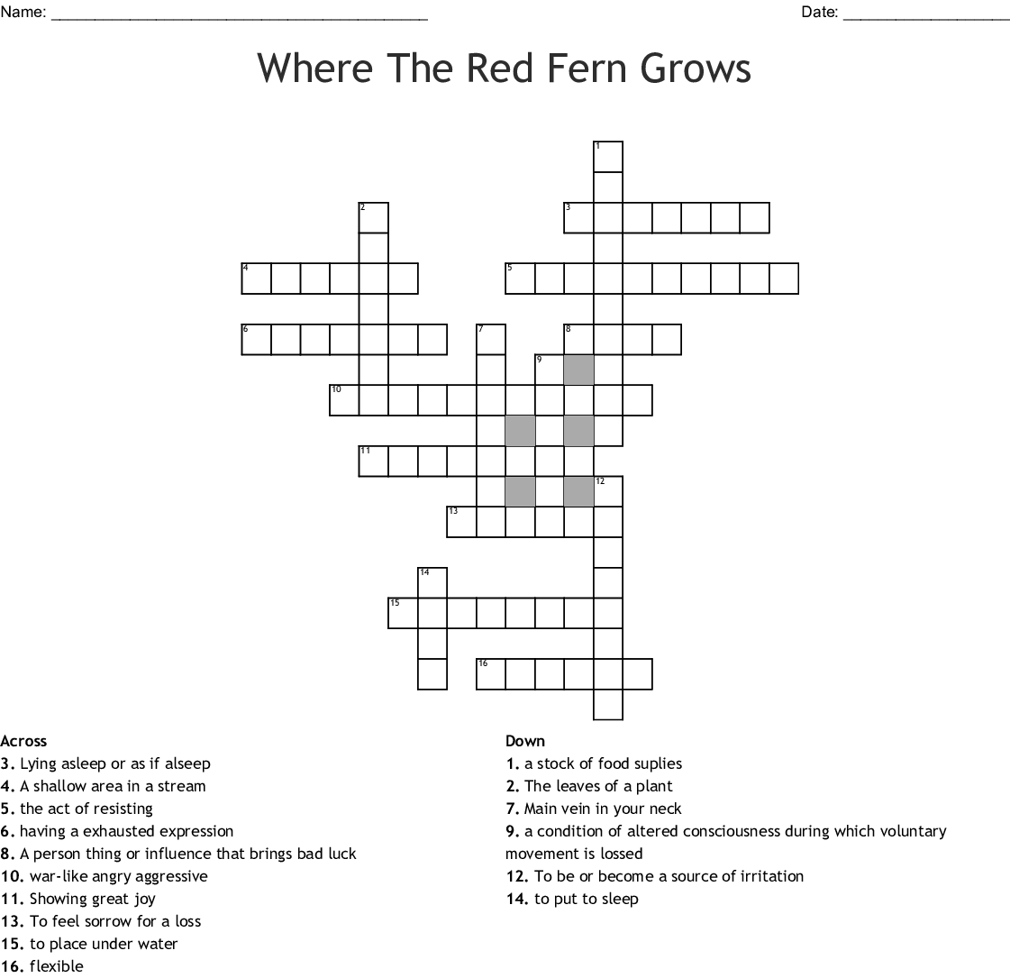 Where The Red Fern Grows Crossword