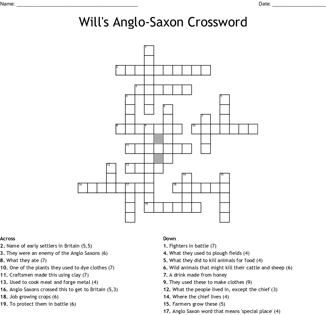 Will S Anglo Saxon Crossword