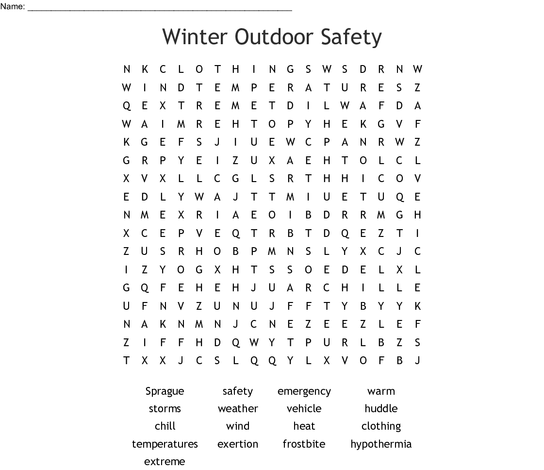 Winter Outdoor Safety Word Search