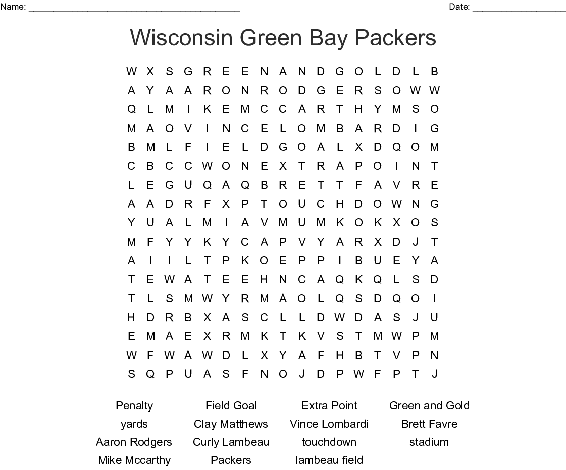 Wisconsin Green Bay Packers Word Search
