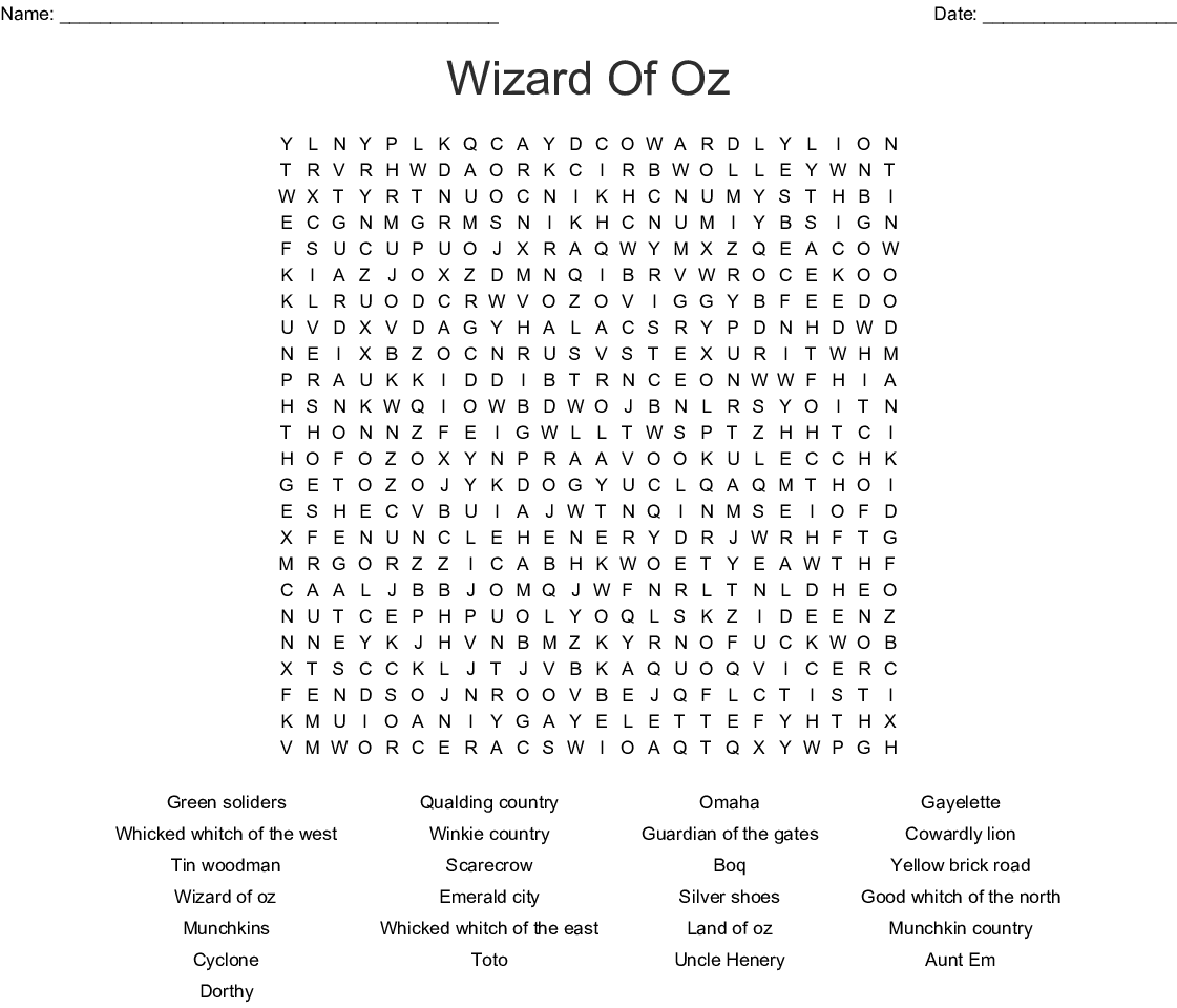 The Wonderful Wizard Of Oz Word Search
