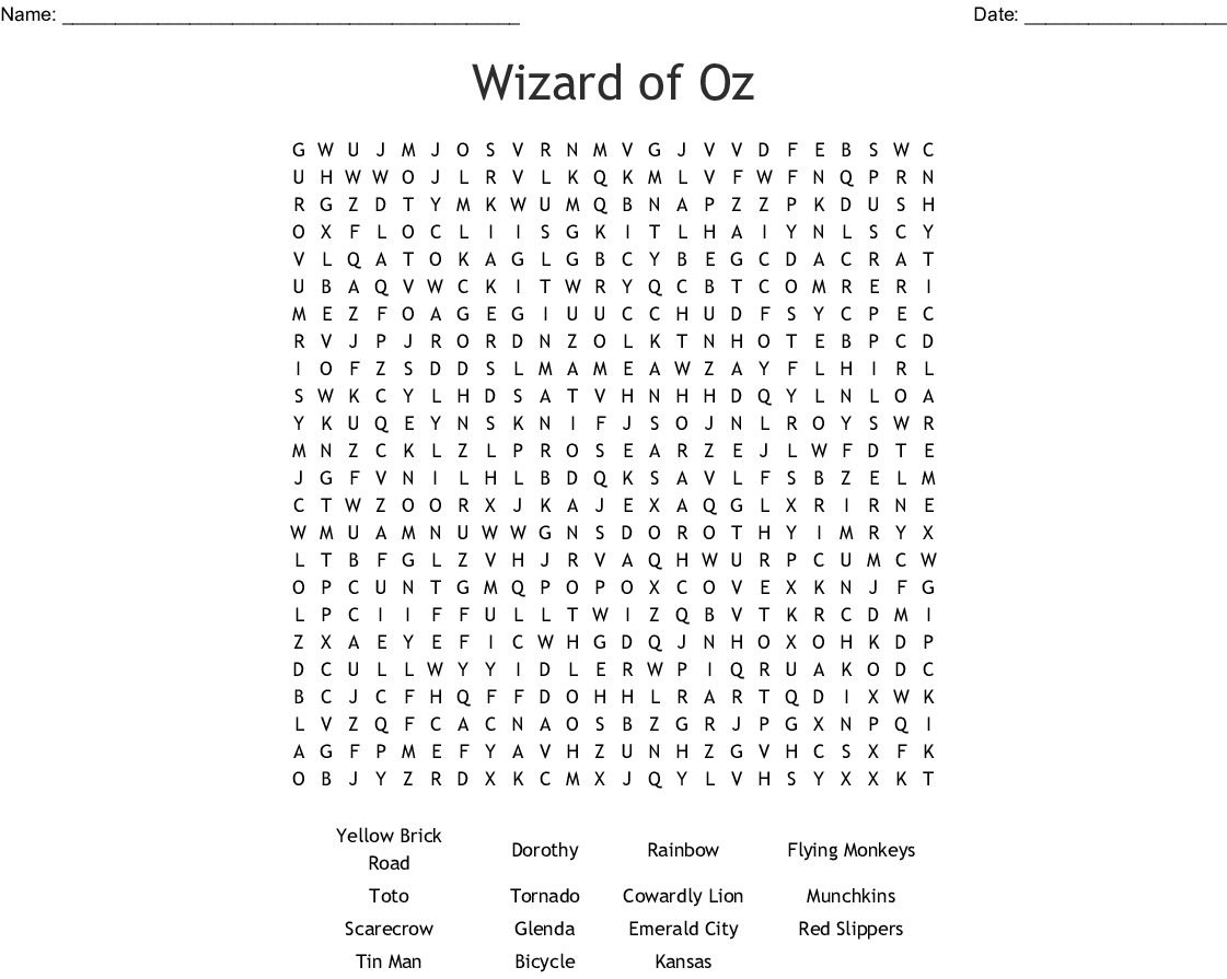 Wizard Of Oz Word Search