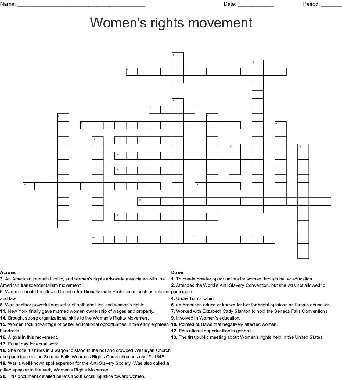 Women S Rights Movement Crossword