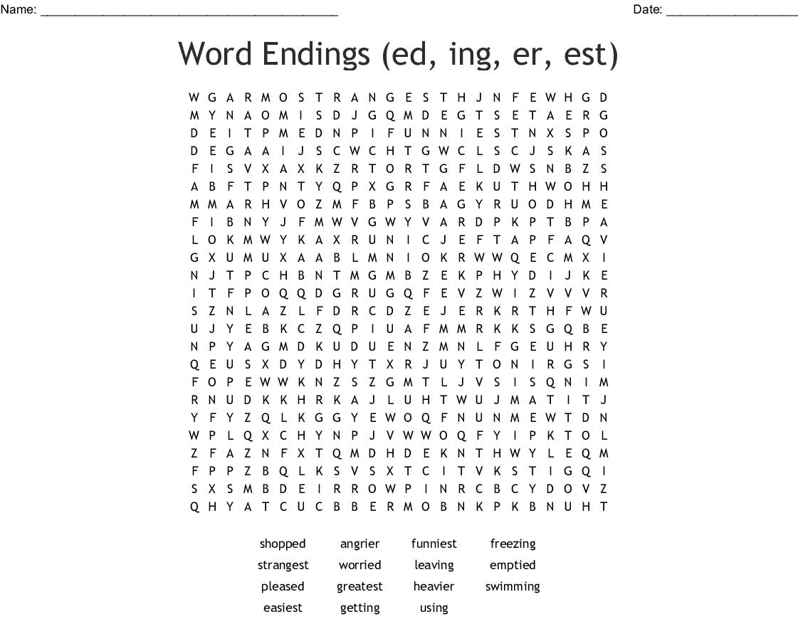 Word Endings Ed Ing Er Est Word Search
