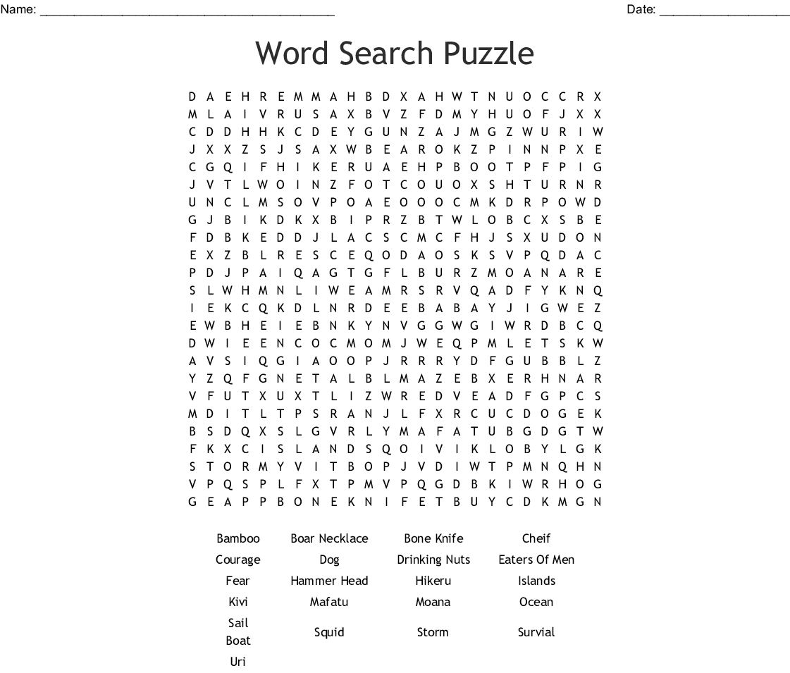 Call It Courage Word Search