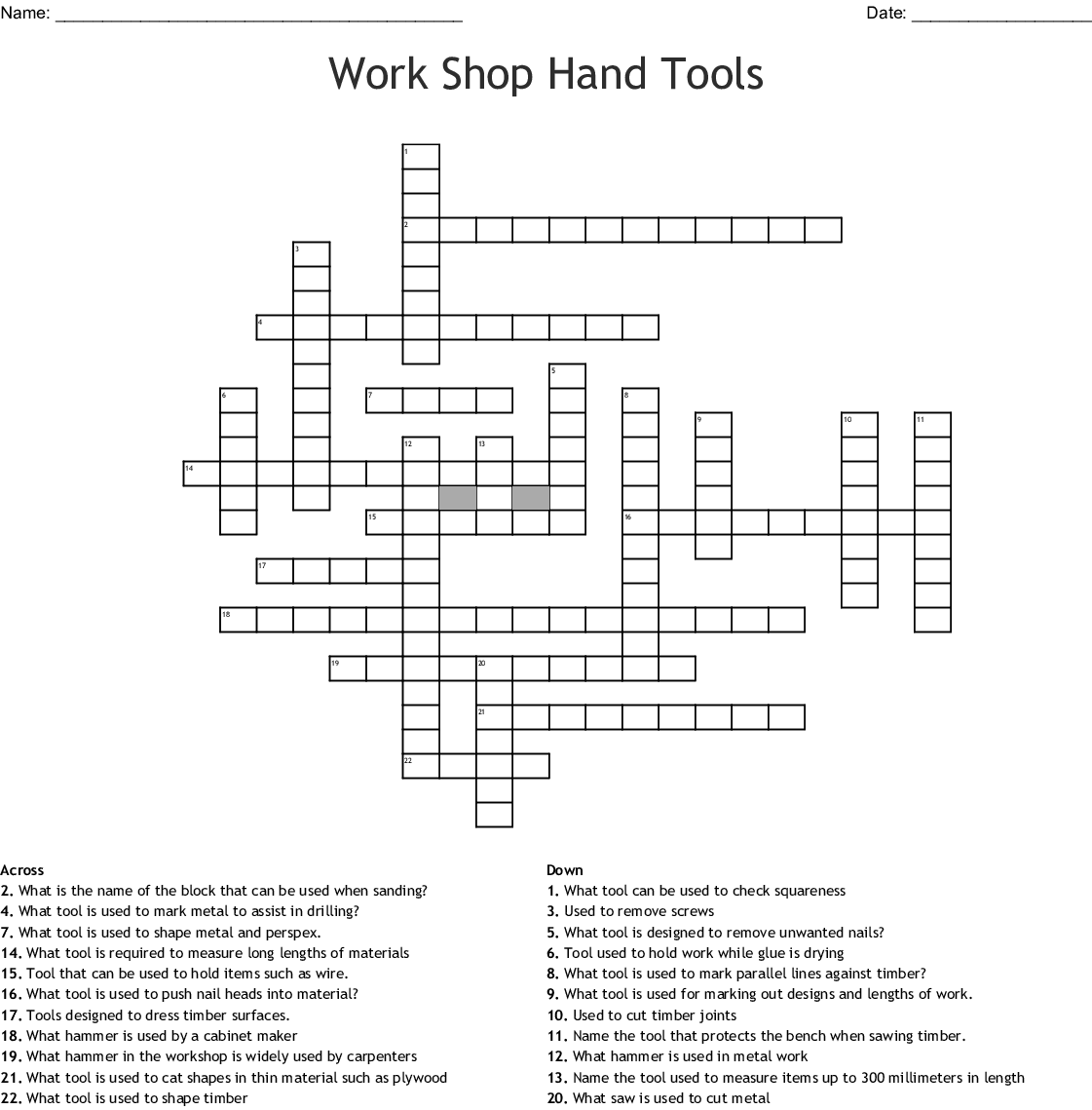 Woodwork Word Search