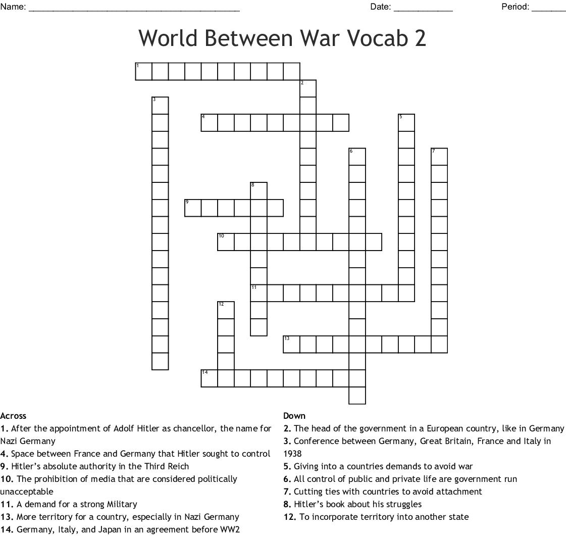 World Between War Vocab 2 Crossword