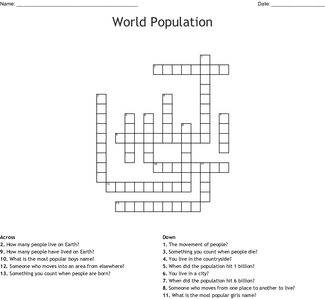 World Population Crossword