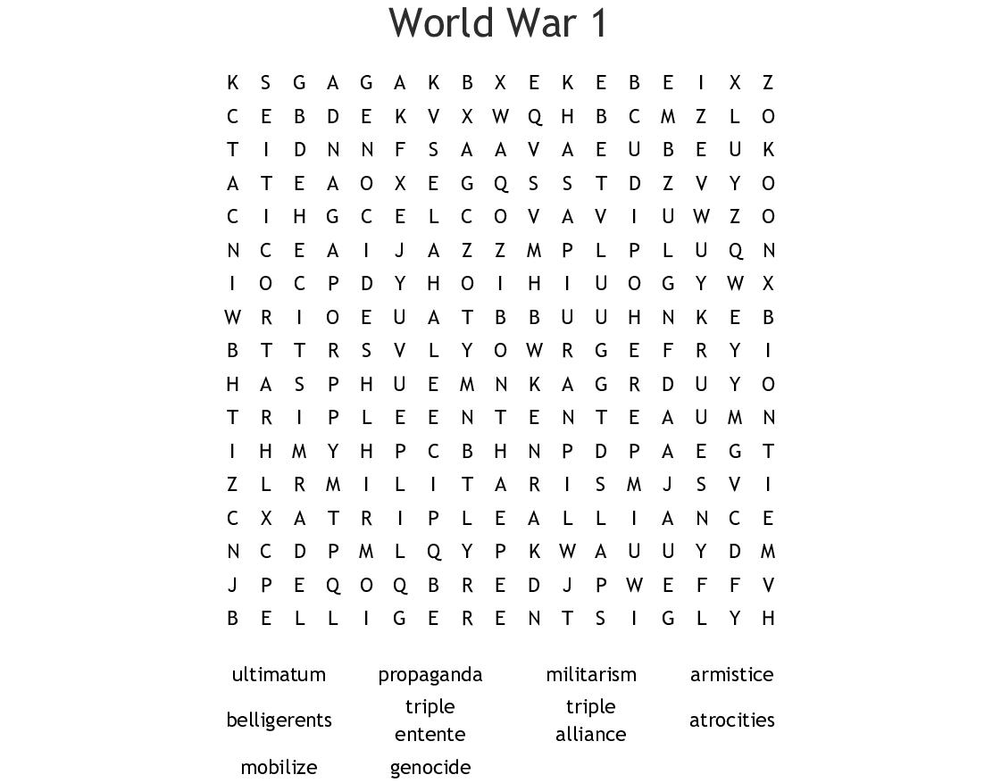 World War 1 Word Search