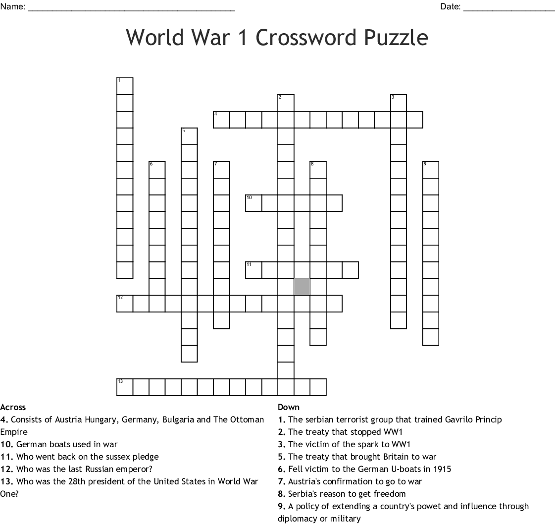 World War One Crossword